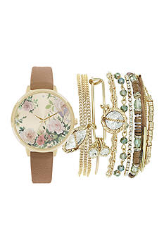 American Exchange Women's Floral and Gold-Tone Watch and Bracelet Set