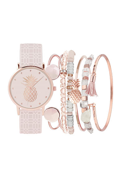 American Exchange Women's Pineapple Watch and Bracelet Set