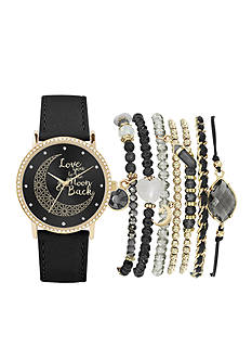 American Exchange Women's Moon and Back Dial Watch and Bracelet Set