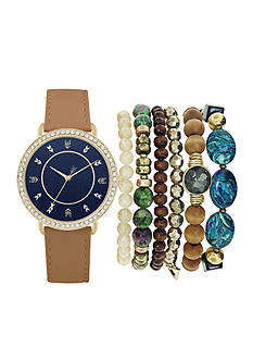 American Exchange Blue Arrow Dial Watch and Bracelet Set