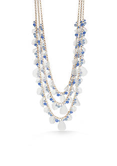 New Directions Gold-Tone White Meadow Multi-Strand Necklace