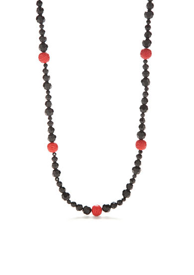 New Directions® Hematite-Tone Vintage Cinnabar Long Necklace
