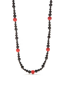 New Directions Hematite-Tone Vintage Cinnabar Long Necklace
