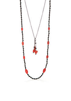 New Directions Hematite-Tone Vintage Cinnabar Layered Necklace