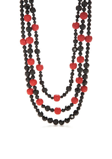 New Directions® Hematite-Tone Vintage Cinnabar Multistrand Beaded Necklace