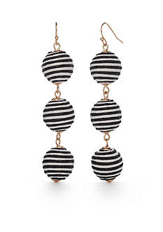 New Directions Gold-Tone Black & White Striped Triple Drop Earrings