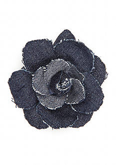 New Directions Silver-Tone Denim Oasis Flower Pin
