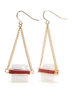 New Directions® Gold-Tone Americana White Bead Drop Earrings