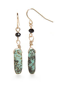New Directions® Gold-Tone Genuine Stone Turquoise Drop Earrings