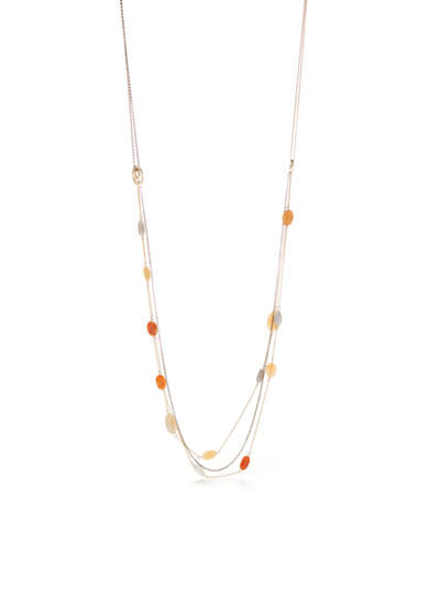 New Directions® Gold-Tone Genuine Stone Multistrand Long Necklace