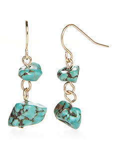 New Directions® Gold-Tone Genuine Stone Turquoise Double Drop Earrings