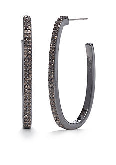 New Directions® Hematite-Tone Marcasite C-Hoop Earrings