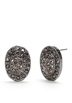 New Directions Hematite-Tone Marcasite Oval Button Earrings