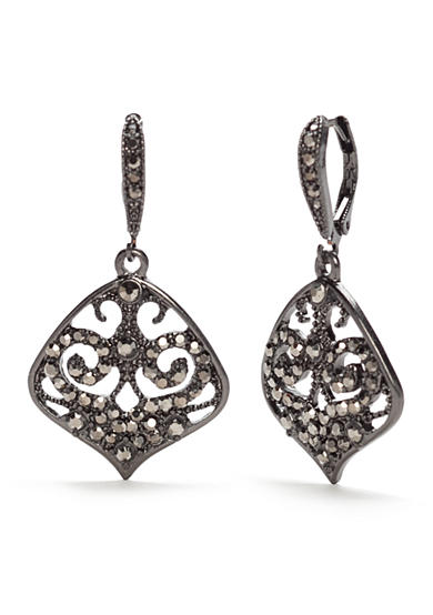 New Directions® Hematite-Tone Marcasite Filigree Drop Earrings