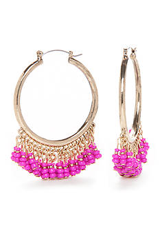 New Directions® Gold-Tone Island Bound Fuchsia Beaded Hoop Earrings