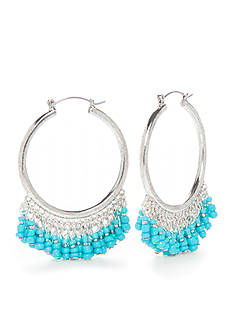 New Directions® Silver-Tone Island Bound Turquoise Beaded Hoop Earrings