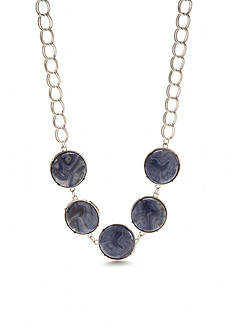 New Directions Silver-Tone Lapis Round Stone Statement Necklace