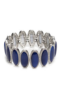 New Directions Silver-Tone Coastal Oval Stretch Bracelet