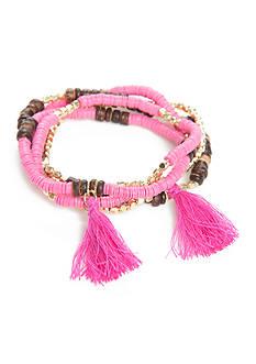 New Directions Gold-Tone Island Bound Beaded Tassel Fuchsia Bracelets