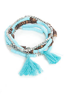 New Directions Silver-Tone Island Bound Beaded Turquoise Tassel Bracelets