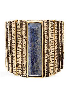 Steve Madden Wide Rectangular Stone Metal Stretch Bracelet