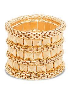 Steve Madden Pyramid And Mesh Stretch Bracelet Set