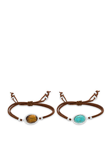 Steve Madden Adjustable Stone And Suede Bracelet Set