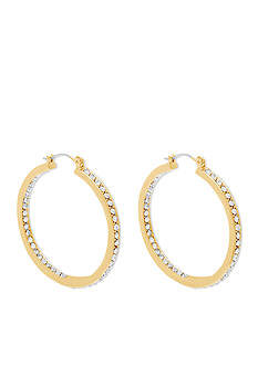 Steve Madden Gold-Tone Cubic Zirconia Hoop Earring
