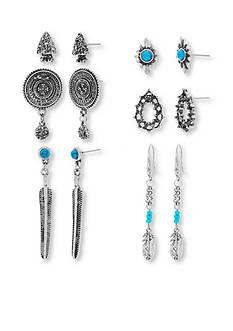 Steve Madden Silver-Tone Turquoise Earring Set
