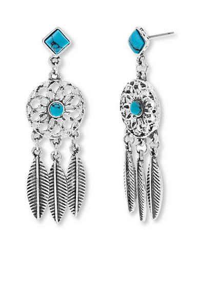 Steve Madden Silver-Tone Dream Catcher Earrings