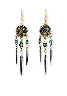 Steve Madden Dream Catcher Feather Drop Earrings