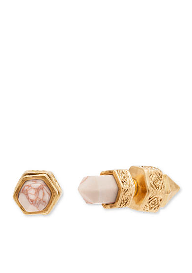 Steve Madden Stone And Spike Front To Back Earrings
