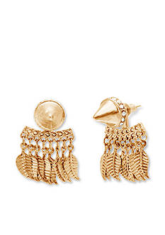 Steve Madden Stud Front And Leaf Back Earrings