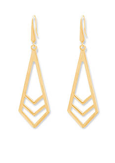 Steve Madden Gold-Tone Chevron Drop Earrings