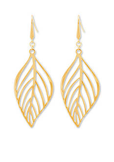 Steve Madden Gold Tribal Gone Wild Steve Madden Wavy Cutout Leaf Earrings