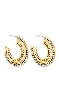 Steve Madden Rhinestone Cutout Hoop Earrings