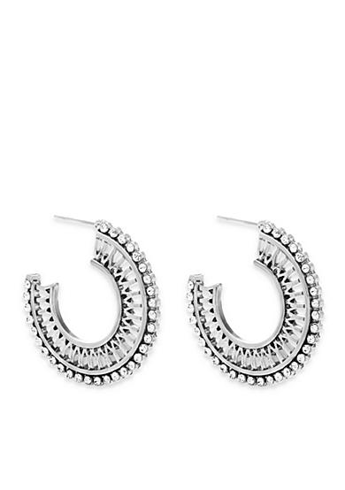 Steve Madden Rhinestone Cutout Hoop Earrings