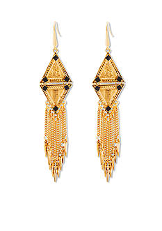 Steve Madden Tribal Diamond Fringe Earrings
