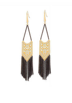 Steve Madden Two Tone Tribal Cutout Fringe Earrings