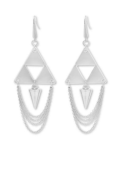 Steve Madden Silver-Tone Pyramid and Spike Chandelier Earrings