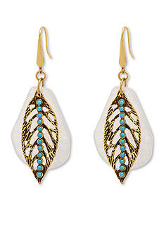 Steve Madden Leaf Overlay Quartz Drop Earrings