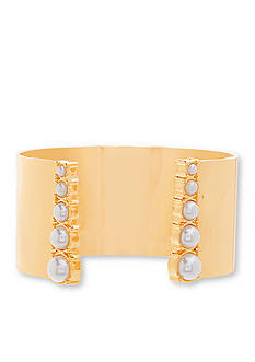 Steve Madden Gold-Tone Stainless Steel Open Cuff Bangle