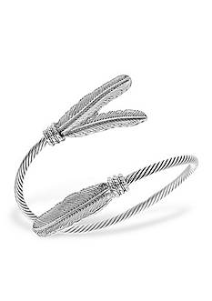 Steve Madden Metal Feather Wrap Around Bracelet