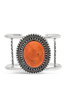 Silver And Coral Dye Job Steve Madden Stone Cutout Cuff Bracelet