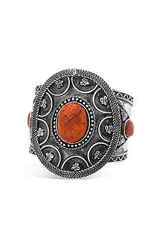 Steve Madden Engraved Tribal Circle Statement Cuff Bracelet