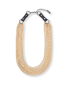 Steve Madden Gold-Tone 8 Layer Buckle Necklace