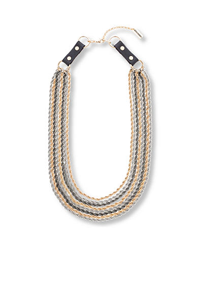 Steve Madden Tri-Tone 8 Layer Buckle Necklace