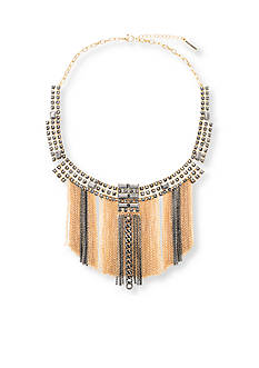 Steve Madden Two-Tone Jewel Statement Fringe Necklace