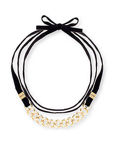 Steve Madden Gold-Tone Curb Chain with Black Velvet Necklace