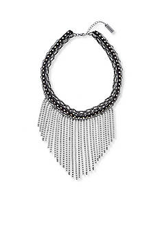 Steve Madden Black-Tone Leather Fringe Choker Necklace
